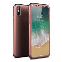 Защитный пластиковый двусторонний 3D чехол MOFI 360 с защитным стеклом для iPhone X 10 розовое золото
