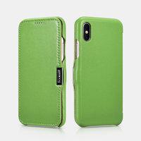 Зеленый кожаный чехол для iPhone X / Xs 10 - i-Carer Luxury Series Side-open Leather Case Green