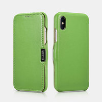 Зеленый кожаный чехол для iPhone X / Xs 10 - i-Carer Luxury Series Side-open Leather Case Green