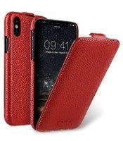Красный кожаный чехол флип для iPhone X 10 - Melkco Leather Case Jacka Type Red