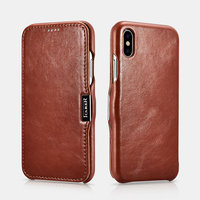 Коричневый винтажный кожаный чехол книжка для iPhone X / Xs 10 - i-Carer Vintage Series Side-open Leather Case Brown