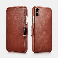 Коричневый винтажный кожаный чехол книжка для iPhone X 10 - i-Carer Vintage Series Side-open Leather Case Brown