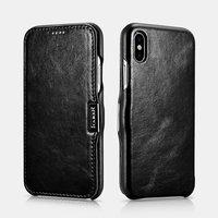 Черный винтажный кожаный чехол для iPhone X / Xs 10 книжка - i-Carer Vintage Series Side-open Leather Case Brown
