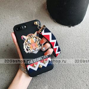 Черный силиконовый чехол петлей для руки для iPhone 7 / 8 - рисунок Тигр