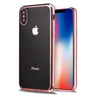 Прозрачный силиконовый чехол для iPhone X 10 с бампером красное золото