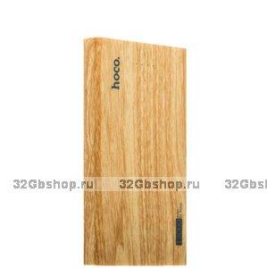 Аккумулятор внешний универсальный Hoco 13 000 mAh Wood grain Power bank 2 USB цвет Орех