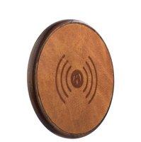 Беспроводное зарядное устройство для Apple iPhone 8 / 8 Plus коричневая кожа - i-Carer Genuine Leather Fast Wireless Brown 5V-9V-1A