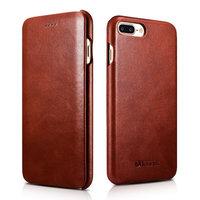 Коричневый кожаный чехол книжка для iPhone 8 Plus