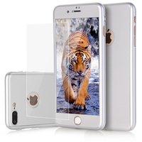 Серебряный 3D чехол для iPhone 8 Plus двусторонний противоударный