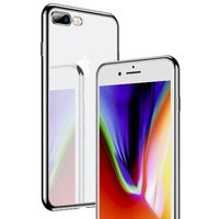 Прозрачный силиконовый чехол бампер для iPhone 8 Plus с серебристым ободком