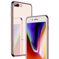 Прозрачный силиконовый чехол бампер для iPhone 8 Plus с ободком розовое золото