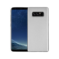 Серебряный силиконовый чехол - рисунок имитация карбона для Samsung Galaxy Note 8