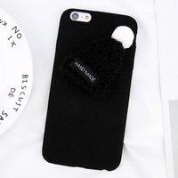 Плюшевый 3D чехол с вязаной шапочкой для iPhone 7 / 8 черный