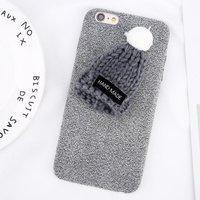 Плюшевый 3D чехол с вязаной шапочкой для iPhone 7 / 8 серый