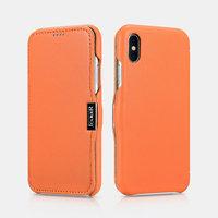 Оранжевый кожаный чехол для iPhone X / Xs 10 - i-Carer Luxury Series Side-open Leather Case Orange