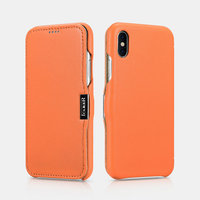 Оранжевый кожаный чехол для iPhone X 10 - i-Carer Luxury Series Side-open Leather Case Orange