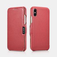 Красный кожаный чехол для iPhone X / Xs 10 - i-Carer Luxury Series Side-open Leather Case Red