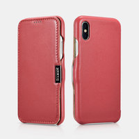 Красный кожаный чехол для iPhone X 10 - i-Carer Luxury Series Side-open Leather Case Red