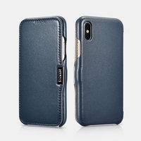 Синий кожаный чехол для iPhone X / Xs 10 - i-Carer Luxury Series Side-open Leather Case Blue