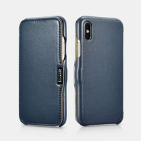 Синий кожаный чехол для iPhone X / Xs 10 - i-Carer Luxury Series Side-open Leather Case Blue