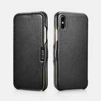 Черный кожаный чехол для iPhone X 10 - i-Carer Luxury Series Side-open Leather Case Black