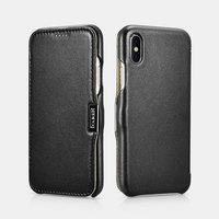 Черный кожаный чехол для iPhone X / Xs 10 - i-Carer Luxury Series Side-open Leather Case Black