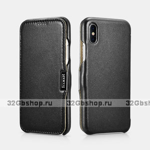 Черный кожаный чехол для iPhone X / Xs 10 - i-Carer Luxury Series Side-open Leather Case Black