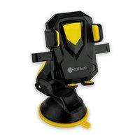 Автомобильный держатель COTEetCI ST для смартфонов универсальный с присоской (ширина 95mm) Черный - желтый