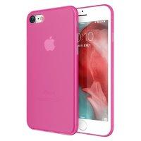 Ярко-розовый тонкий пластиковый чехол для iPhone 8