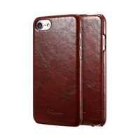 Коричневый кожаный чехол флип для iPhone 8
