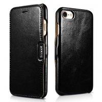 Черный кожаный чехол книжка для iPhone 8 - ICARER Vintage Series Genuine Leather Case Black