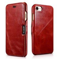 Красный кожаный чехол книга для iPhone 8 - ICARER Vintage Series Genuine Leather Case Red