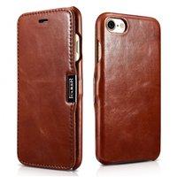Коричневый кожаный чехол книжка для iPhone 8 - ICARER Vintage Series Genuine Leather Case Brown