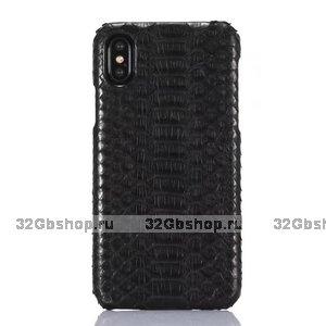 Черный чехол из кожи змеи для iPhone X / Xs 10 питон