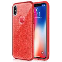 Красный блестящий силиконовый 3D чехол для iPhone X 10