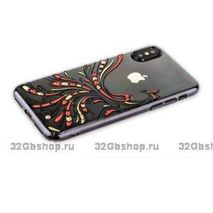 Чехол со стразами Swarovski KINGXBAR для iPhone X 10 пластиковый черный ободок Жар-птица