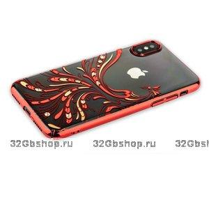 Пластиковый чехол накладка KINGXBAR для iPhone X 10 со стразами Swarovski красный ободок