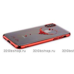 Пластиковый чехол KINGXBAR для iPhone X 10 со стразами Swarovski красный рисунок Сердце