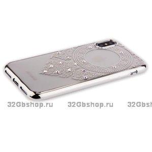 Силиконовый чехол со стразами для iPhone X / Xs 10 серебристый узор - Beckberg Monsoon Series Silver