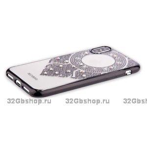 Силиконовый чехол накладка со стразами для iPhone X / Xs черный узор - Beckberg Monsoon Series Swarovski Black