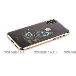 Пластиковый чехол со стразами Swarovski KINGXBAR для iPhone X / Xs 10 золотистый рисунок Перо