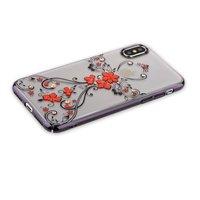 Пластиковый чехол накладка KINGXBAR для iPhone X / Xs 10 со стразами Swarovski черный ободок и рисунок цветы