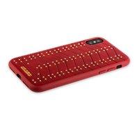 Красный чехол кожаная накладка для iPhone X / Xs 10 золотые заклепки - Santa Barbara Polo Club Armor Series Red