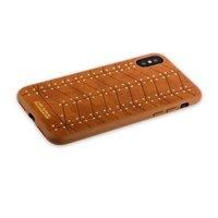 Коричневый кожаный чехол накладка для iPhone X / Xs 10 с золотыми заклепками - Santa Barbara Polo Club Armor Series Brown