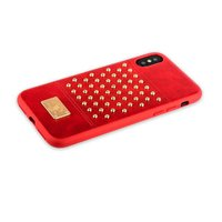 Красный кожаный чехол для iPhone X / Xs накладка с золотыми заклепками - Santa Barbara Polo&Racquet Club Staccato Series Red