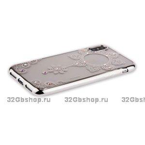 Силиконовая накладка чехол со стразами для iPhone X / Xs серебряные цветы - Beckberg Monsoon Series Silver Swarovski