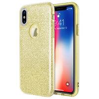 Золотистый блестящий силиконовый 3D чехол для iPhone X / Xs 10