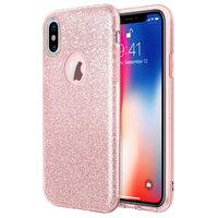 Розовый блестящий силиконовый 3D чехол для iPhone X / Xs 10