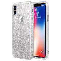 Серебристый блестящий силиконовый 3D чехол для iPhone X / Xs 10