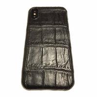 Черный чехол из кожи крокодила для iPhone X / Xs 10 брюшко
